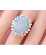 VINTAGE 1.15ctw DIAMOND 10 carat OVAL OPAL 14K COCKTAIL RIGHT-HAND RING ... - £5,296.07 GBP