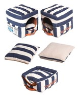 Polo-Striped Collapsible Reversible Squared 2-in-1 Pet Dog House Bed Beds - $52.49