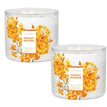 2 Pack Bath & Body Works MANGO WATERS 3 Wick Large Scented Candles 14.5 oz - $47.45