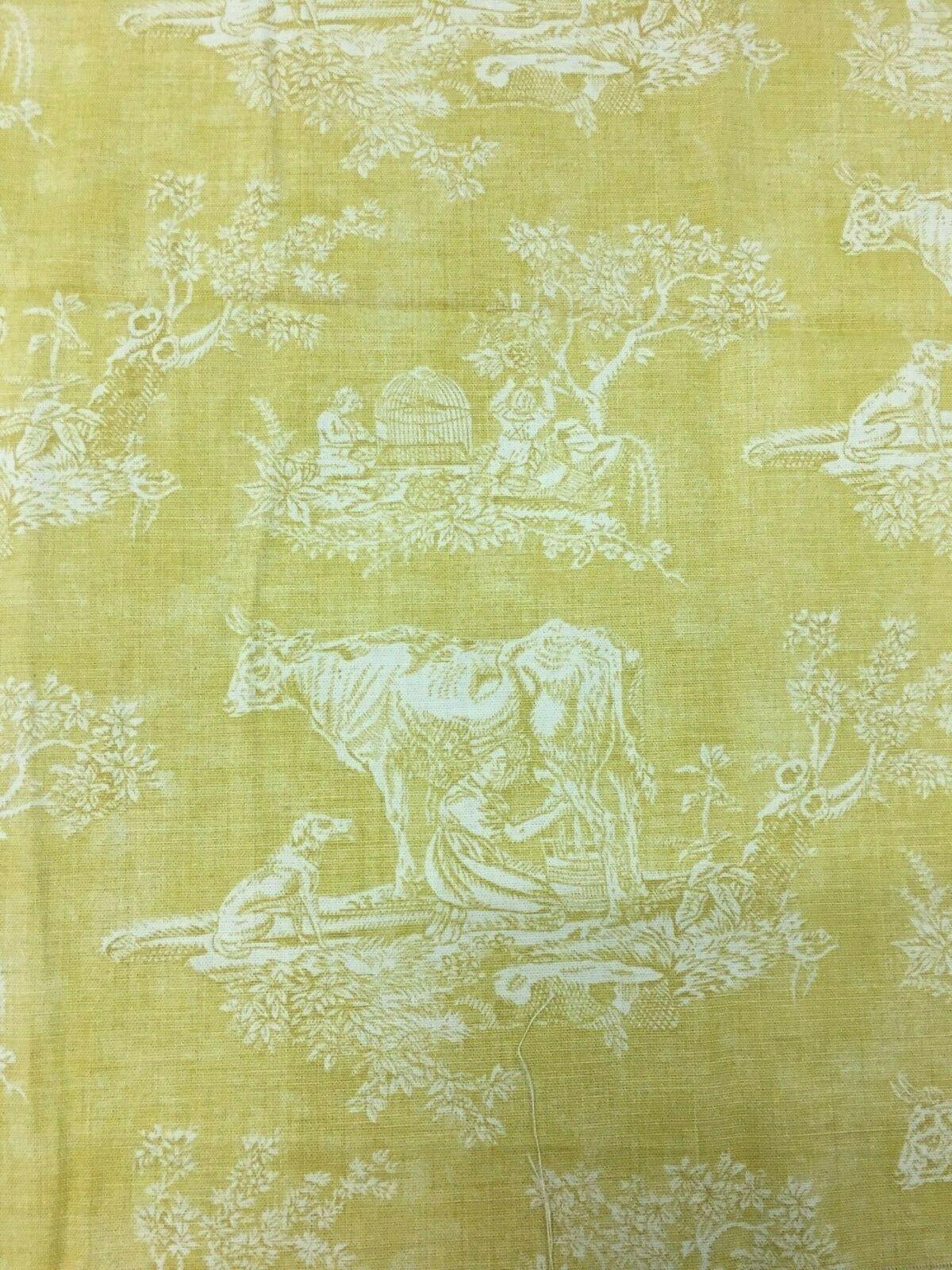 Waverly Mayenne Yellow Cotton Toile with Cows Multi-Purpose Fabric 1.375 yards