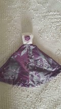 PRETTY HAND CRAFTED BARBIE DOLL SIZE PURPLE FORMAL GOWN DRESS, FLORAL, S... - $4.94