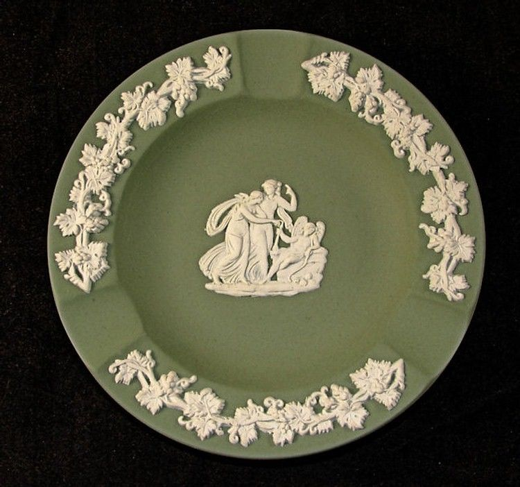 Primary image for Wedgwood Green Jasperware Ashtray or Pin Dish Cupid Sleeping