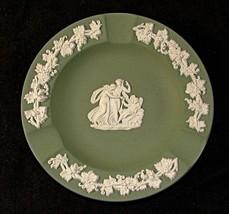 Wedgwood Green Jasperware Ashtray or Pin Dish Cupid Sleeping - $9.75