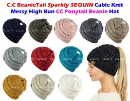 C.C BeanieTail Sparkly Sequin Cable Knit Messy High Bun CC Ponytail Bean... - $15.89