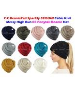 C.C BeanieTail Sparkly Sequin Cable Knit Messy High Bun CC Ponytail Bean... - $15.89