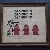 Vintage Embroidery Needlepoint Framed Dog Fire ... - $16.50