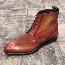 Handmade Tan Patina Ankle High Boots for Mens Premium Quality Custom made boots - $189.99 - $199.99