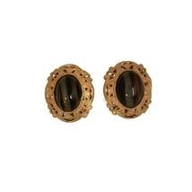 Vintage Miriam Haskell Glass Tiger Eye Art Filigree Metal Clip On Earrings - $69.29