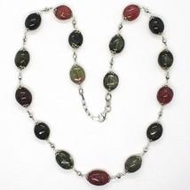 Halskette Silber 925, Turmaline Ovale, Grün und Rot, Kugel Facettiert image 2