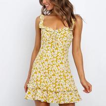 Trendy Vintage Green Floral Ruffle Summer Beach Sundress image 6