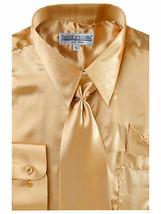 Daniel Ellissa Boy's Gold Shiny Satin Kids Toddler Dress Shirt Tie Set Size  14