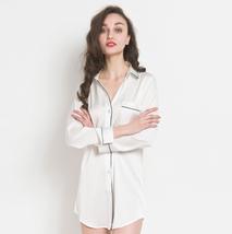 Women Satin Sleepwear Nightgown Button Down Pajama Lace Sleepshirt Long ... - $23.99