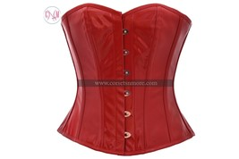 Sexy Red PVC Faux Leather  Gohtic Steampunk Burlesque  Basque Overbust C... - $55.77