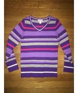 * Childrens Place purple silver striped v neck pullover sweater medium 7... - $5.94