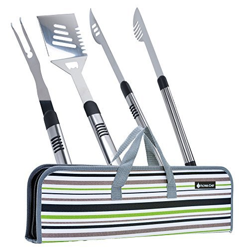 Monbix Grill Brush 3-in-1 Brush Scraper Set 2 Pieces Grilling Accessories Durable and Effective Multi-Function BBQ Tools