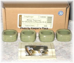 4 Longaberger Pottery Sage Green Woven Traditions Soft Square Napkin Rin... - $35.00