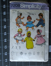 "VTG Simplicity Sewing Pattern 7208 15""/16"" Doll Clothes Dress Hat Romper... - $4.89"