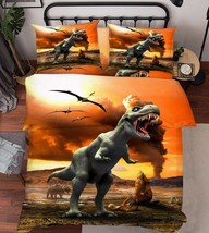 3D Dinosaurs Era Bed Pillowcases Quilt Duvet Cover Set Single Queen King Size AU - $64.32+