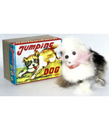 Vintage Wind-up Fur Covered JUMPING DOG Figure in Box, made by OKA, Japan - $28.00