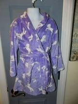 Cuddl Duds Purple Unicorn Plush Fleece Bathrobe Robe Size 4/5(XS) Girl's... - $35.60