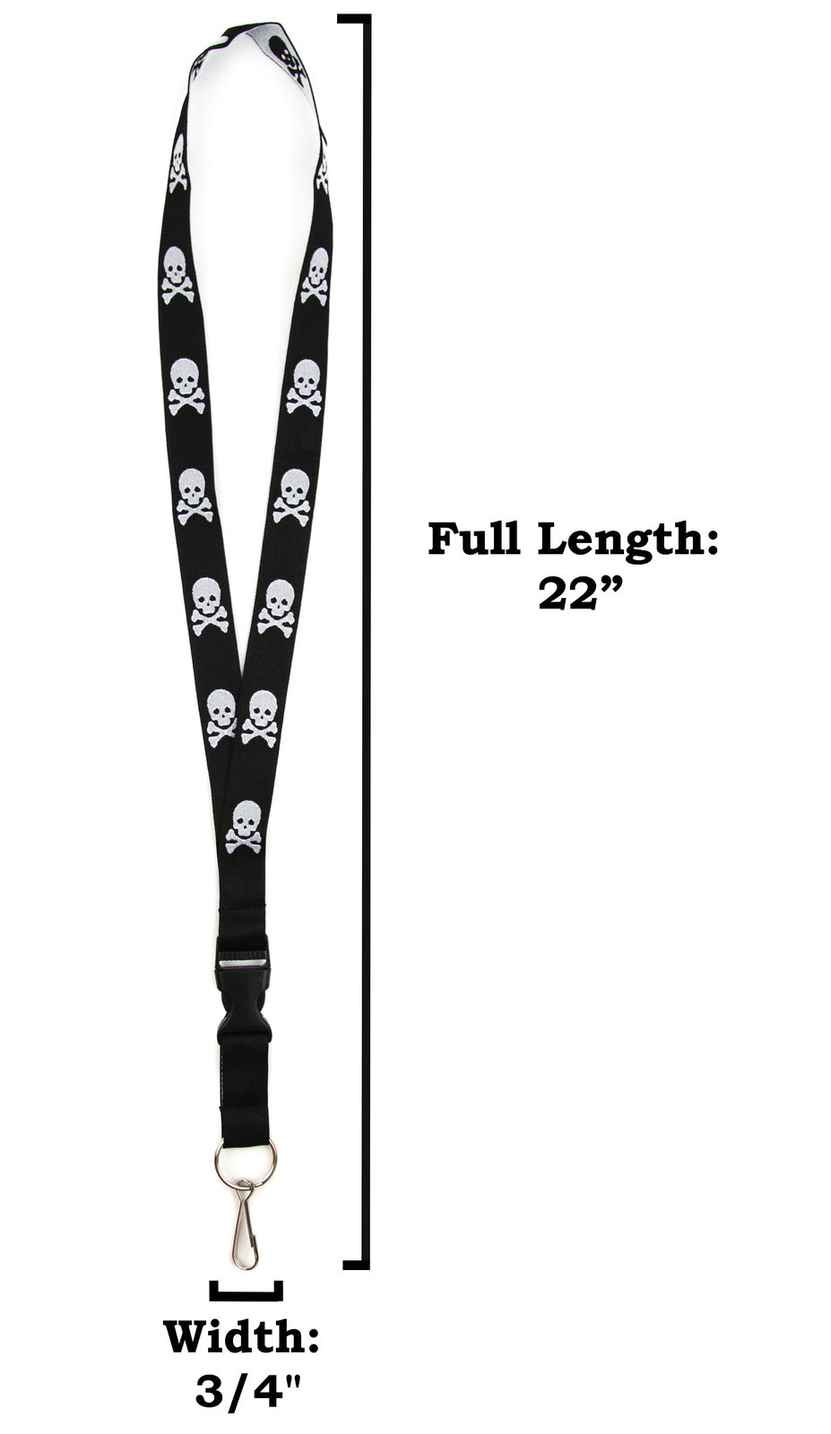 Skull and Crossbones Lanyard Keychain ID Holder with Detachable, Breakaway Buckl