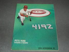 Cincinnati Reds Scorebook 1985 Pete Rose 4192 Reds vs Padres - $9.00