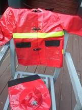 CHILDS FIREMAN COSTUME RED VINYL  COAT AND  HAT SIZE 7/8 IMAGINARIUM - $9.99