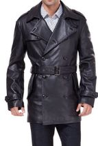 Notch Collar Men Leather Coat Winter Genuine Real Leather Trench Black Long Coat