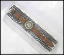 SWATCH Watch Brown Leather Straps Swiss Made 22 Jewels Wristwatch Chrono Men's image 2
