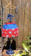 Vtg Half Apron Alice in Wonderland Fabric w/ Red Background & Solid Blue... - $53.99