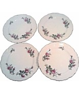 4 VINTAGE ROSE CERAMIC PLATES GOLD LEAF EDGES CHERRY CHINA MADE IN JAPAN... - $29.95