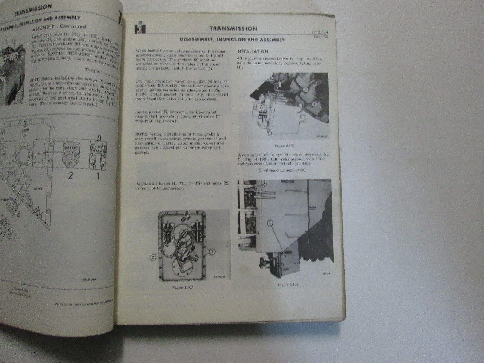 Internazionale Modello H-400 Paga Carico Servizio Manuale Luglio 1968 Usato Oem