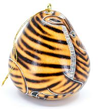 Handcrafted Carved Gourd Art Zebra Zoo Animal Ornament Made in Peru image 4
