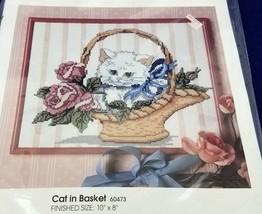 Vintage Golden Bee Candamar Cat In Basket Counted Cross Stitch Sampler Kit 60473 - $15.69