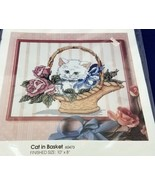 Vintage Golden Bee Candamar Cat In Basket Counted Cross Stitch Sampler K... - £11.41 GBP