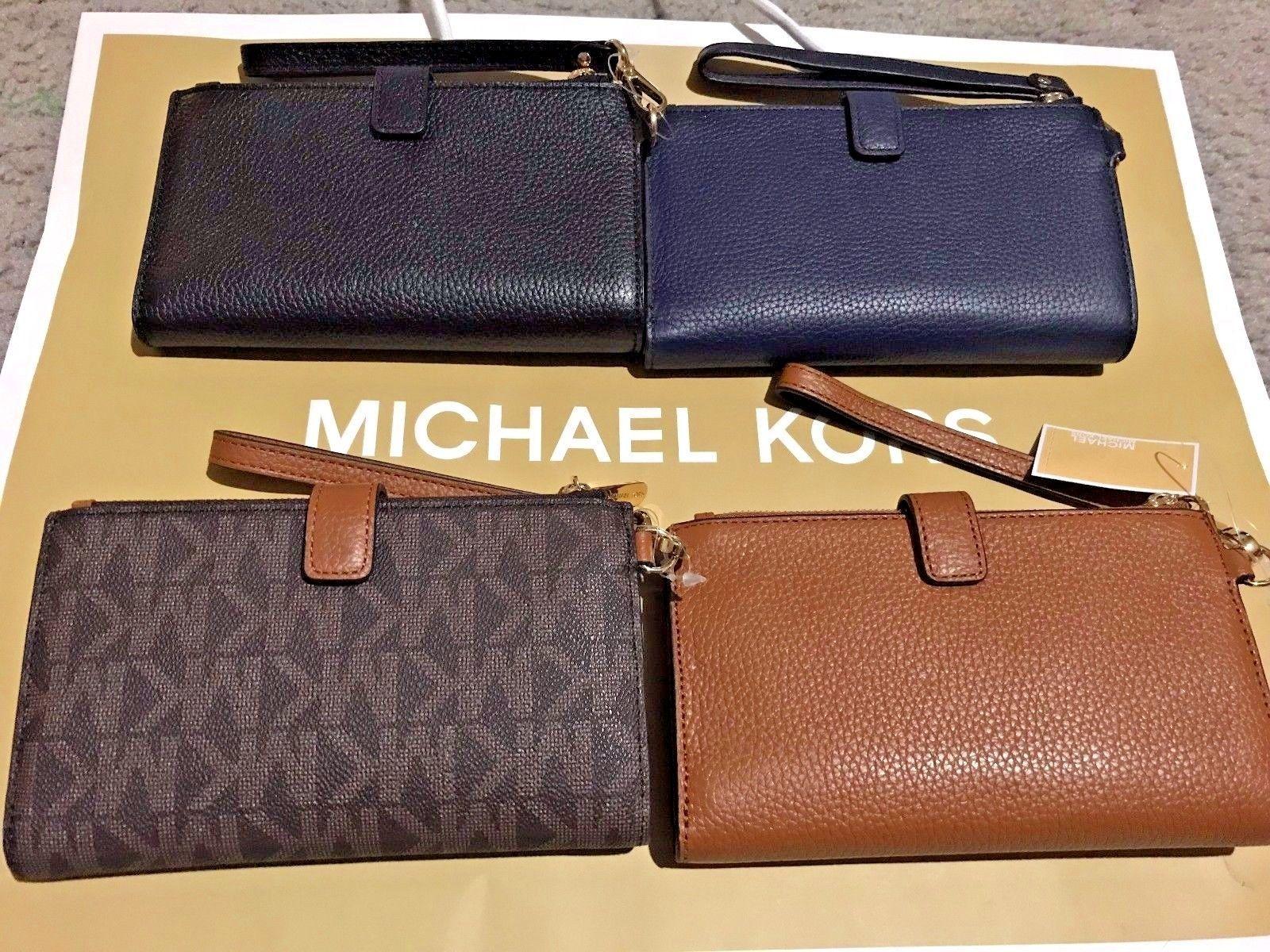 36210283e408 NWT Michael Kors Leather PVC Jet Set Travel Double Zip Wallet Wristlet 4  Colors