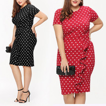 NEW Summer Elegant Womens Big Size Long Sleeve Polka Dot Bodycon Midi Dress Red  - $17.98