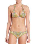 $156 Trina Turk Bikini Gold Accent Straps Top Bottom Orange Multi Swimsu... - $113.84