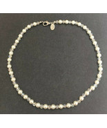 Cookie Lee Ivory Faux Pearl Aurora Borealis Clear Beaded Choker Necklace - $8.90