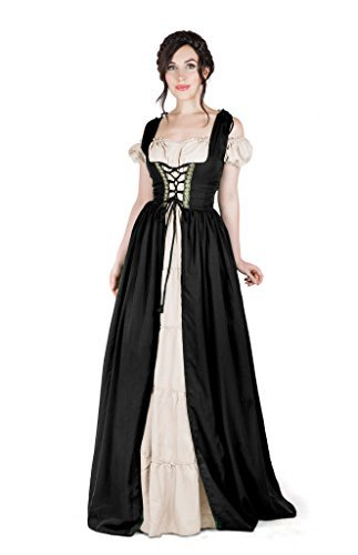 Boho Set Medieval Irish Costume Chemise and Over Dress (L/XL, Black)