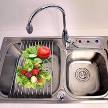 1pcs Kitchen Vegetable Drainer Shelf Roll Up Stainless Steel Sink - $7.69+