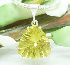 Lemon Quartz Quantum Trillion Sterling Pendant Necklace - $48.00
