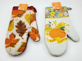(Lot of 2) Kitchen Oven Mit. Fall Autumn Harvest. Women Owned. Leaves & ... - $10.66