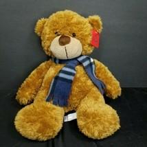 "Winter Bear Plush Brown Plaid Scarf Blue Stuffed Animal Christmas Bonny 13"" - $17.81"