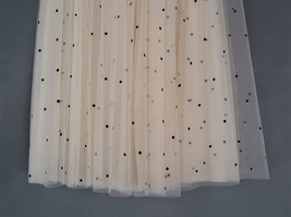 CHAMPAGNE Long Tulle Skirt Women Dotted Puffy Tulle Skirt Champagne Party Skirt image 9