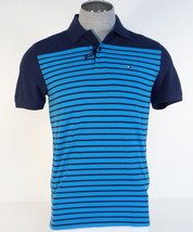 Tommy Hilfiger Classic Fit Blue Stripe Cotton Short Sleeve Polo Shirt Mens NWT - $71.24