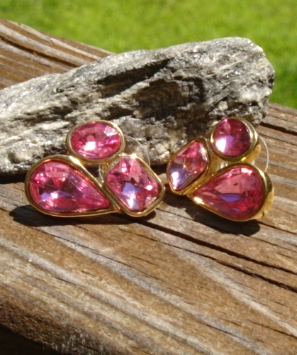 Vintage Pink Trifari TM Rhinestone Crystal Nugget Cluster Earrings