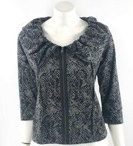 Fever Sweatshirt Top Size Medium Petite Black Gray Snake Print Zip Up Wo... - $19.80