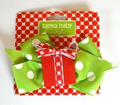 Mud Pie Santa Baby Christmas Holiday Hair Bow Clip Green Polka Dot - $3.99
