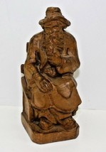 "Vintage Hand Carved 8"" Wooden Bavarian Man with Pipe - $22.91"